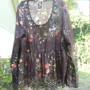 Johnny Was Brown Silk Floral Embroidered Top M/L